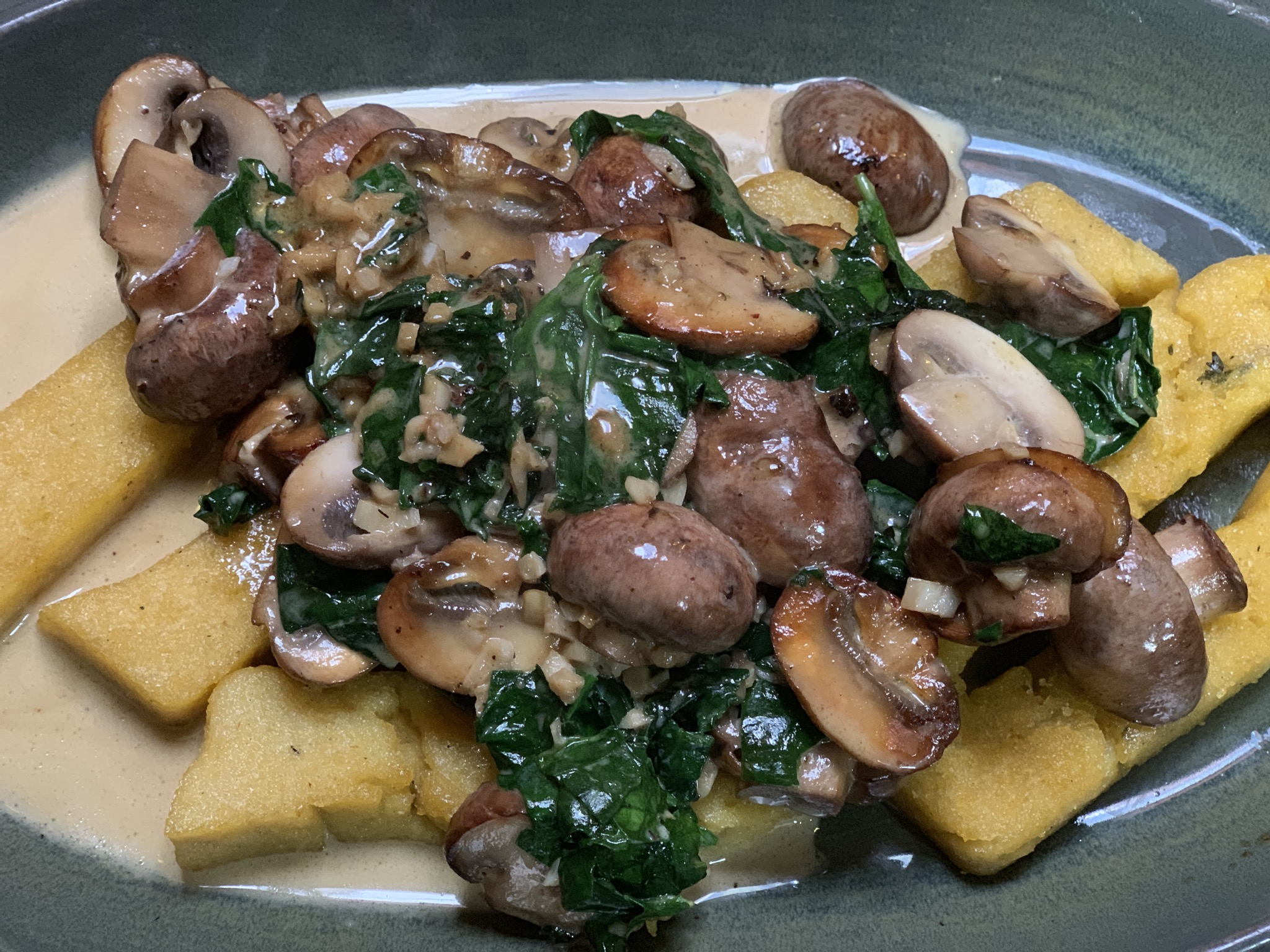 Polenta Chips and creamy garlic mushrooms and spinach